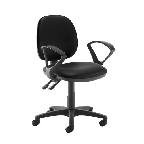 Jota medium back PCB operators chair with fixed arms - Nero Black vinyl