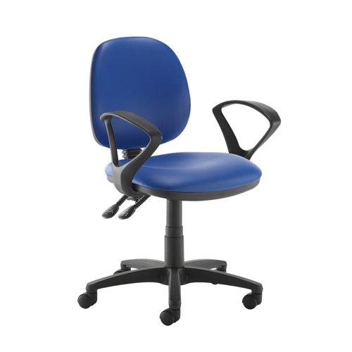 Jota medium back PCB operators chair with fixed arms - Ocean Blue vinyl