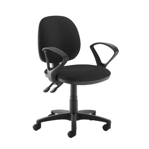 Jota medium back PCB operators chair with fixed arms - Havana Black