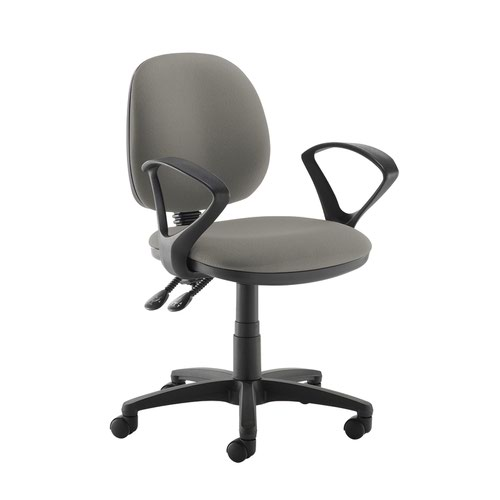 Jota medium back PCB operators chair with fixed arms - Slip Grey