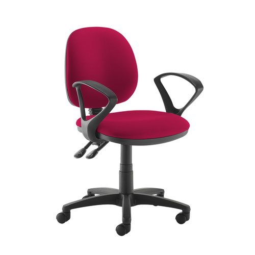Jota medium back PCB operators chair with fixed arms - Diablo Pink