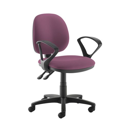 Jota medium back PCB operators chair with fixed arms - Bridgetown Purple