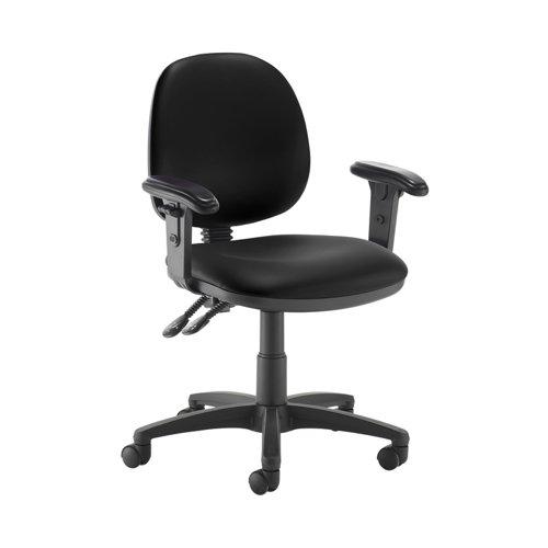 Jota medium back PCB operators chair with adjustable arms - Nero Black vinyl