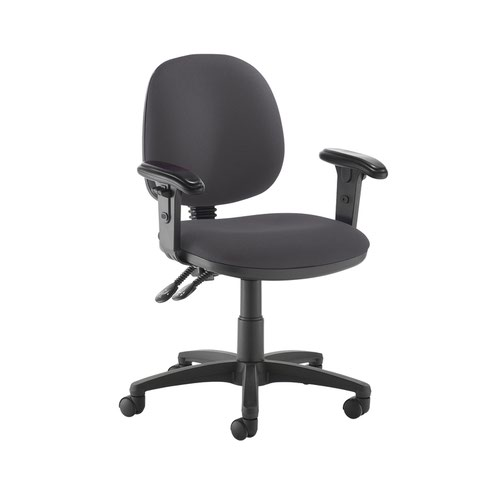 Jota medium back PCB operators chair with adjustable arms - Blizzard Grey