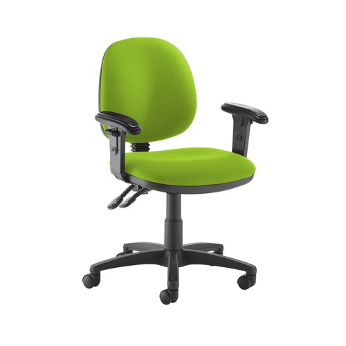 Jota medium back PCB operators chair with adjustable arms - Madura Green