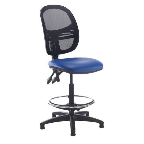 Jota mesh back draughtsmans chair with no arms - Ocean Blue vinyl
