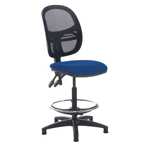 Jota mesh back draughtsmans chair with no arms - Curacao Blue