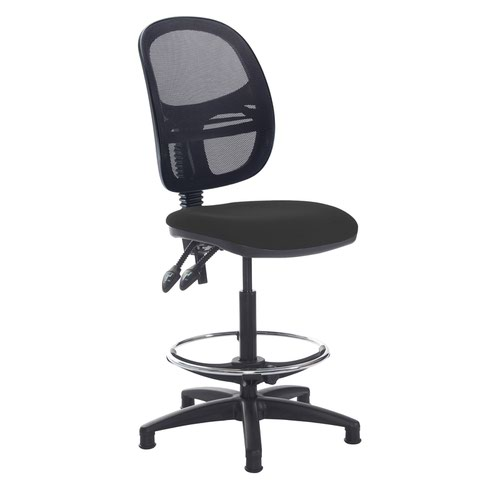 Jota mesh back draughtsmans chair with no arms - Havana Black