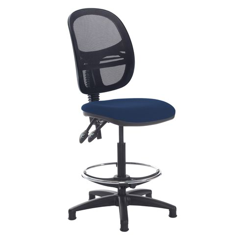 Jota mesh back draughtsmans chair with no arms - Costa Blue