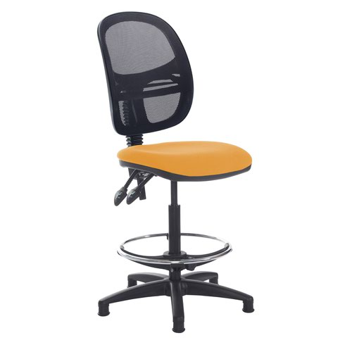 Jota mesh back draughtsmans chair with no arms - Solano Yellow