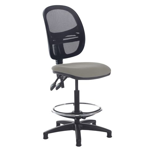 Jota mesh back draughtsmans chair with no arms - Slip Grey