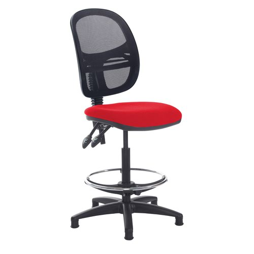 Jota mesh back draughtsmans chair with no arms - Belize Red