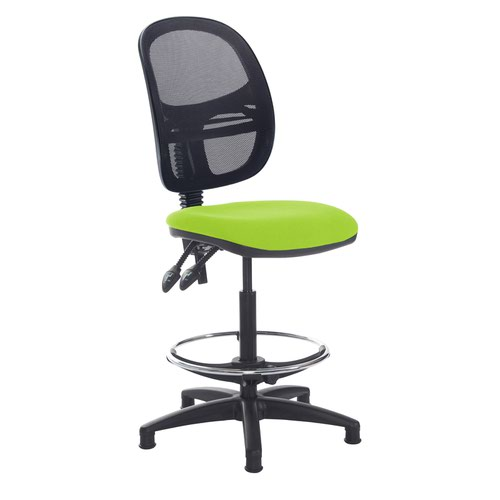 Jota mesh back draughtsmans chair with no arms - Madura Green