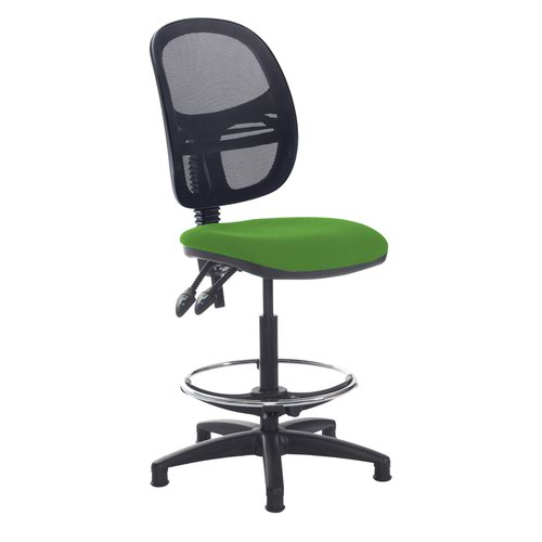 Jota mesh back draughtsmans chair with no arms - Lombok Green