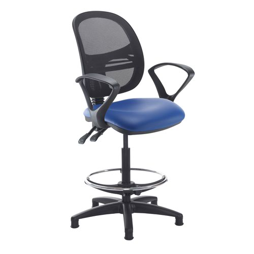 Jota mesh back draughtsmans chair with fixed arms - Ocean Blue vinyl