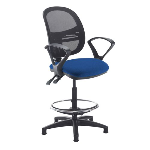 Jota mesh back draughtsmans chair with fixed arms - Curacao Blue