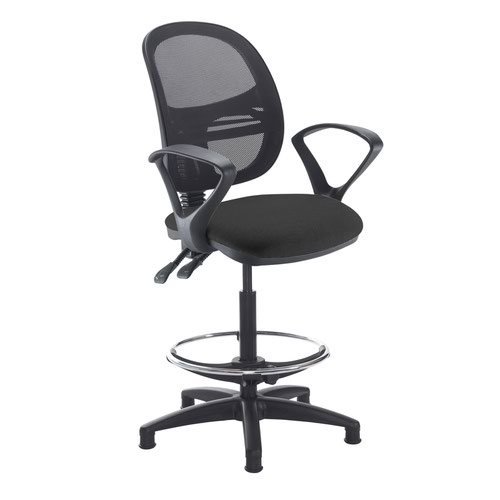 Jota mesh back draughtsmans chair with fixed arms - Havana Black