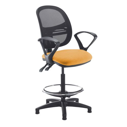 Jota mesh back draughtsmans chair with fixed arms - Solano Yellow
