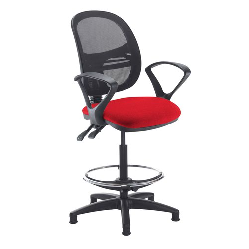 Jota mesh back draughtsmans chair with fixed arms - Panama Red