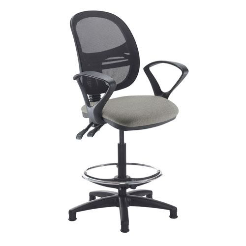 Jota mesh back draughtsmans chair with fixed arms - Slip Grey