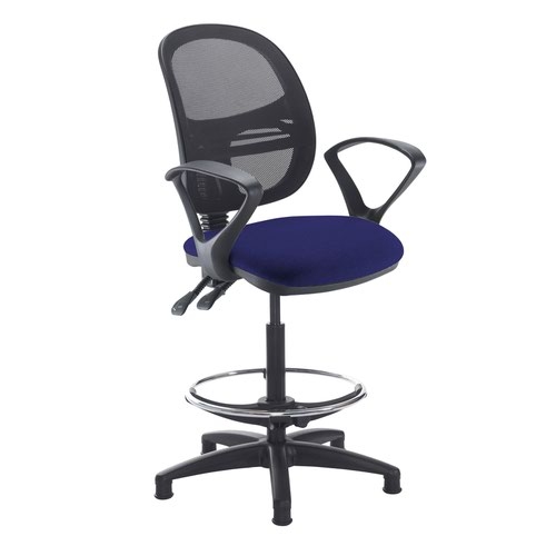 Jota mesh back draughtsmans chair with fixed arms - Ocean Blue