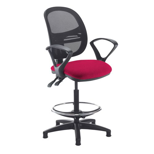 Jota mesh back draughtsmans chair with fixed arms - Diablo Pink