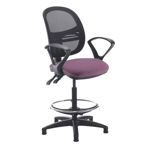 Jota mesh back draughtsmans chair with fixed arms - Bridgetown Purple
