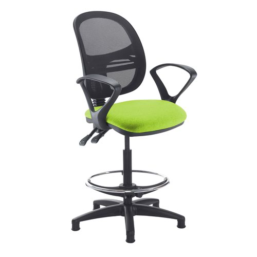 Jota mesh back draughtsmans chair with fixed arms - Madura Green