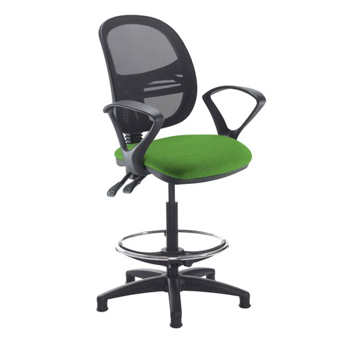 Jota mesh back draughtsmans chair with fixed arms - Lombok Green