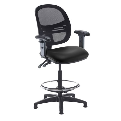 Jota mesh back draughtsmans chair with adjustable arms - Nero Black vinyl