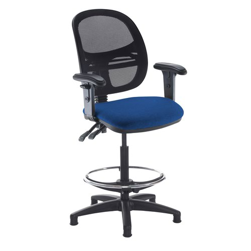 Jota mesh back draughtsmans chair with adjustable arms - Curacao Blue