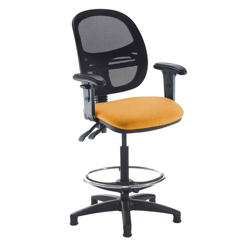 Jota mesh back draughtsmans chair with adjustable arms - Solano Yellow