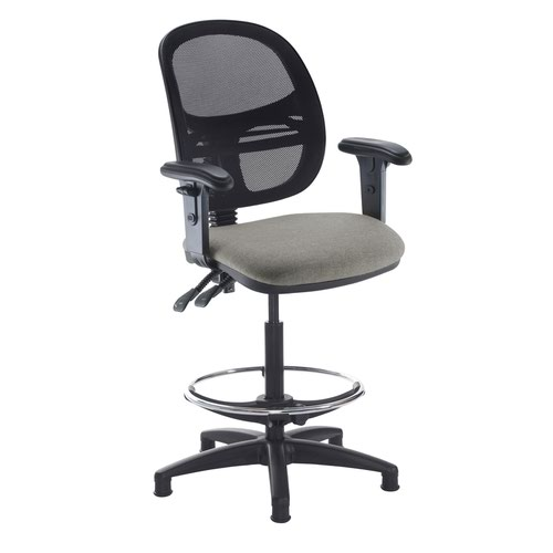 Jota mesh back draughtsmans chair with adjustable arms - Slip Grey