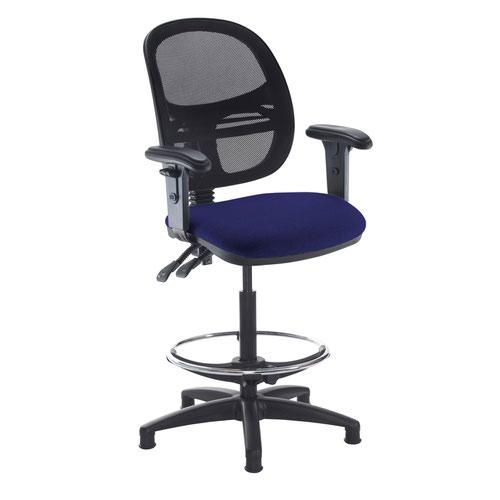 Jota mesh back draughtsmans chair with adjustable arms - Ocean Blue