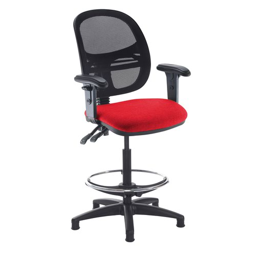Jota mesh back draughtsmans chair with adjustable arms - Belize Red