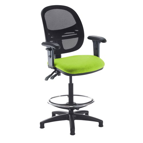 Jota mesh back draughtsmans chair with adjustable arms - Madura Green