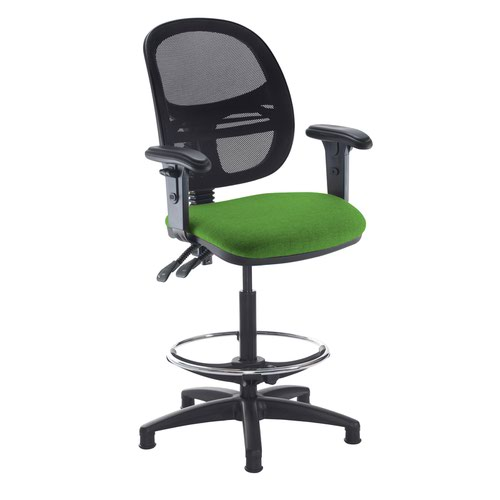 Jota mesh back draughtsmans chair with adjustable arms - Lombok Green