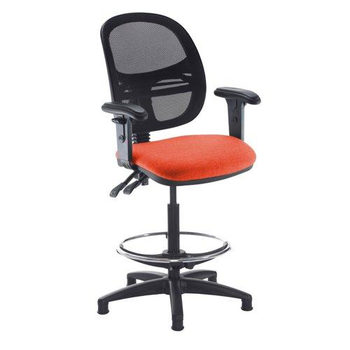 Jota mesh back draughtsmans chair with adjustable arms - Tortuga Orange