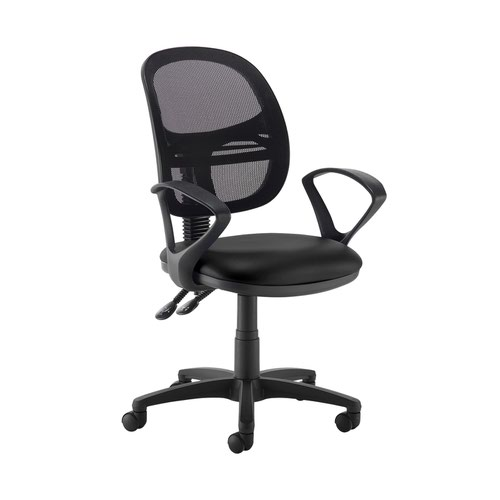Jota Mesh medium back operators chair with fixed arms - Nero Black vinyl