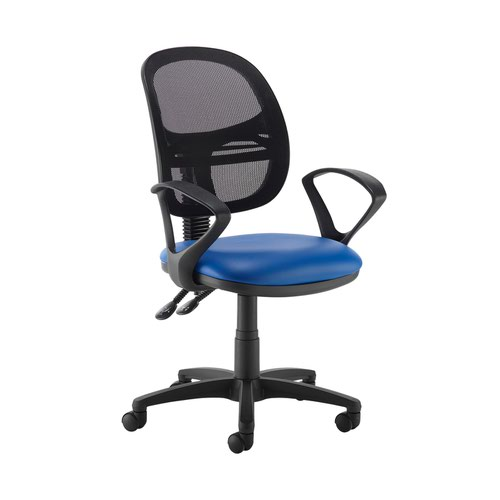 Jota Mesh medium back operators chair with fixed arms - Ocean Blue vinyl
