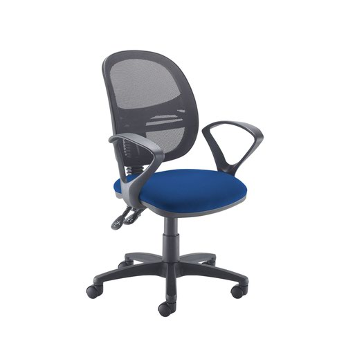 Jota Mesh medium back operators chair with fixed arms - Curacao Blue