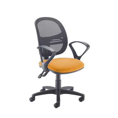Jota Mesh medium back operators chair with fixed arms - Solano Yellow