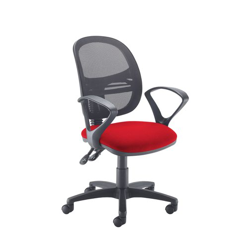 Jota Mesh medium back operators chair with fixed arms - Panama Red