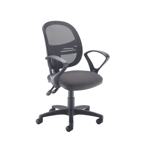 Jota Mesh medium back operators chair with fixed arms - Blizzard Grey