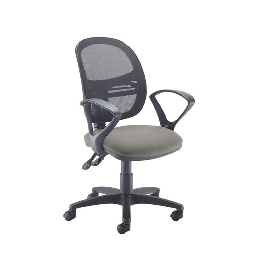 Jota Mesh medium back operators chair with fixed arms - Slip Grey