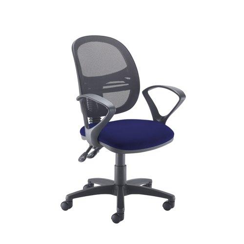 Jota Mesh medium back operators chair with fixed arms - Ocean Blue