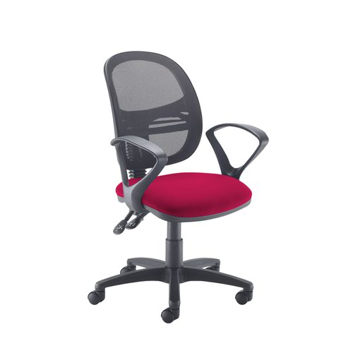 Jota Mesh medium back operators chair with fixed arms - Diablo Pink