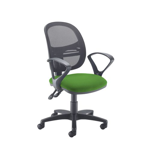 Jota Mesh medium back operators chair with fixed arms - Lombok Green
