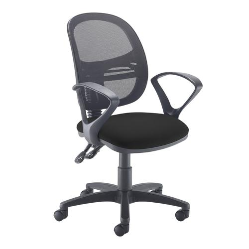 Jota Mesh medium back operators chair with fixed arms - black