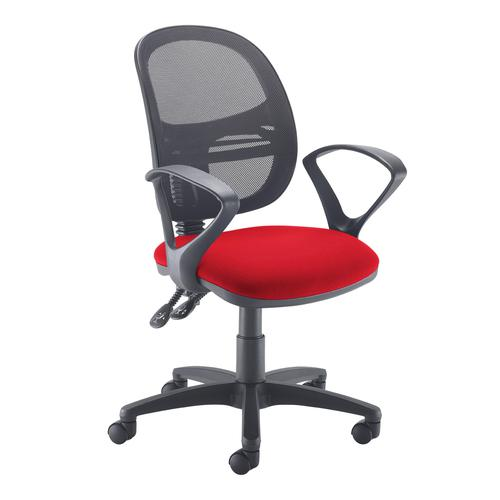 Jota Mesh medium back operators chair with fixed arms - red